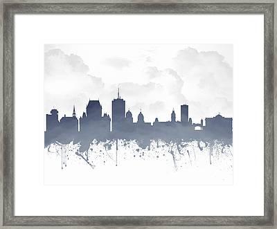 Quebec City Skyline - Blue 03 Framed Print by Aged Pixel