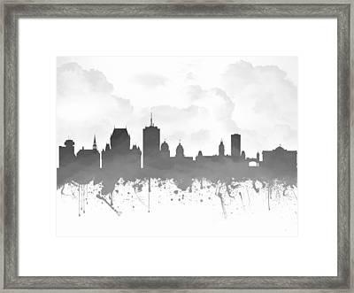 Quebec City Skyline - Gray 03 Framed Print by Aged Pixel