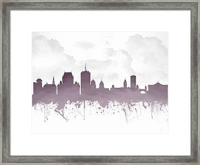 Quebec City Skyline - Purple 03 Framed Print by Aged Pixel