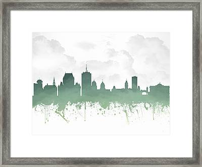 Quebec City Skyline - Teal 03 Framed Print by Aged Pixel
