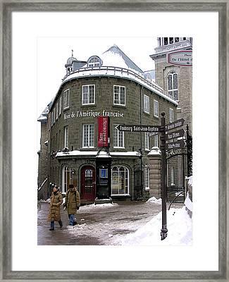 Quebec In The Winter Framed Print by Anne Gordon