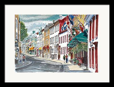 Quebec Streets Paintings Framed Prints