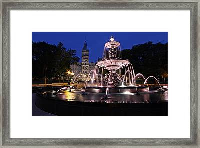 Quebec Parlementaire And Fontaine De Tourny Framed Print by Juergen Roth