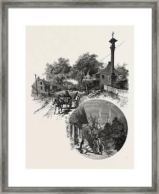 Quebec, Wayside Cross And Beauport Church Framed Print