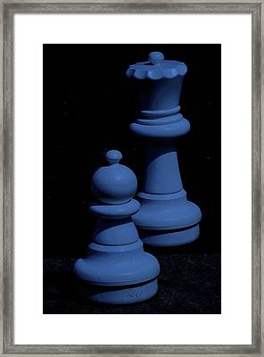 Queen And Pawn Blue Framed Print