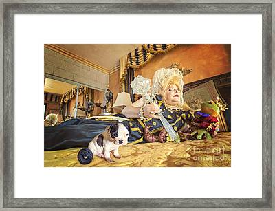 Queen And The Frog Framed Print