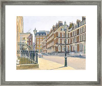Queen Annes Gate Oil On Canvas Framed Print by Julian Barrow