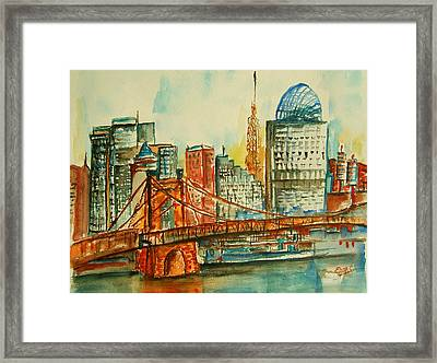 Queen City Skyline Cincinnati Oh Framed Print by Elaine Duras