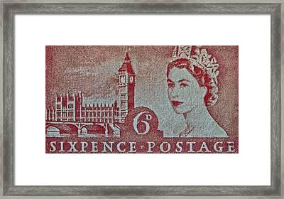 Queen Elizabeth II Big Ben Stamp Framed Print