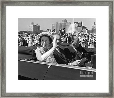 Queen Elizabeth In Chicago 1959 Framed Print