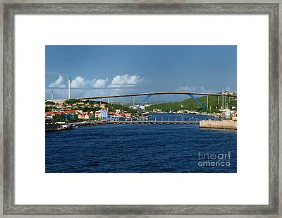 Queen Juliana Bridge  Queen Emma Bridge Curacao Framed Print by Amy Cicconi