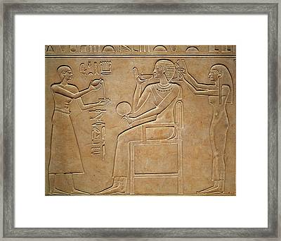Queen Kawit At Her Toilet, From The Sarcophagus Of Queen Kawit Framed Print by Egyptian 11th Dynasty