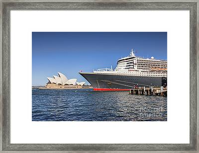 Queen Mary 2 And Sydney Opera House Framed Print
