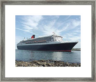 Queen Mary 2 In Halifax Framed Print