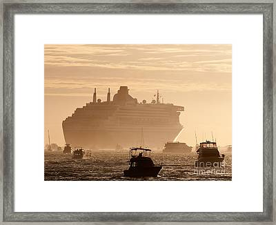 Queen Mary 2 Leaving Port 02 Framed Print by Rick Piper Photography