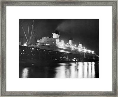 Queen Mary At Nighttime Framed Print by Underwood Archives