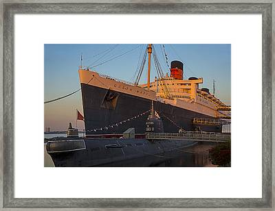 Queen Mary At Sunset Framed Print by Garry Gay