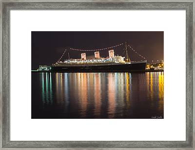 Queen Mary Decked Out For The Holidays Framed Print