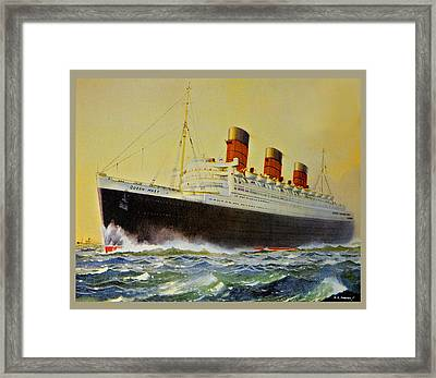 Queen Mary Postcard Framed Print