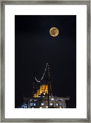 Queen Mary Stacks And The Moon By Denise Dube Framed Print