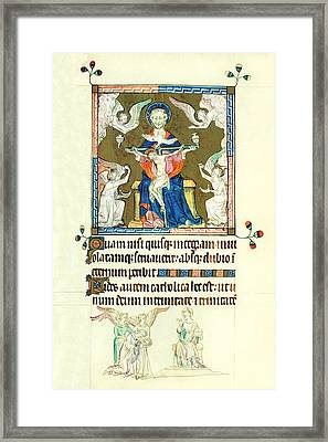 Queen Marys Psalter Trinity Framed Print by Anonymous