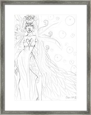 Queen Of Hearts Sketch Framed Print by Coriander  Shea