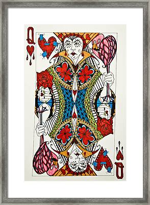 Framed Print featuring the drawing Queen Of Hearts - Wip by Jani Freimann