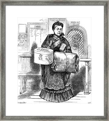 Queen Victoria Depicted At The Railway Framed Print