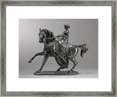 Queen Victoria On Horseback Incised On Front Edge Art,- Framed Print