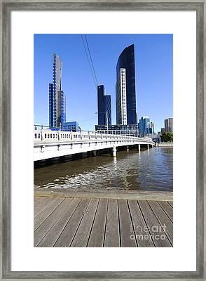 Queens Bridge - Yarra River And Skyscrapers - Melbourne - Australia Framed Print by David Hill