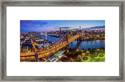 Queensboro Bridge At Dusk, Midtown Framed Print