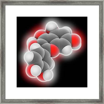 Quercetin Molecule Framed Print