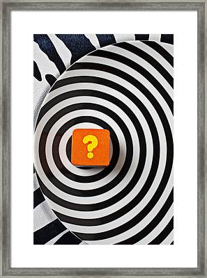 Question Mark On Circle Plate Framed Print by Garry Gay