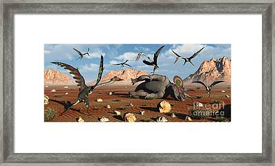 Quetzalcoatlus Scavage At The Remains Framed Print by Mark Stevenson