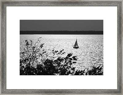 Quick Silver - Sailboat On Lake Barkley Framed Print by Jane Eleanor Nicholas