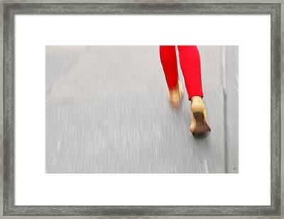 Quick Step Framed Print by Karol Livote