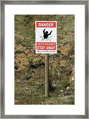 Quicksand Warning Sign Framed Print