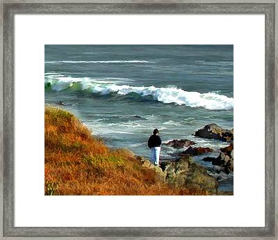 Quiet Contemplation Of The Coast Framed Print by Elaine Plesser