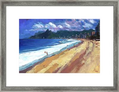 Quiet Day At Ipanema Beach Framed Print by Douglas Simonson