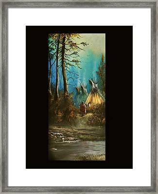 Quiet Forest With Tepees Blank Framed Print