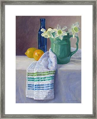 Quiet Moment- Daffodils In A Blue Green Pitcher With Lemons Framed Print