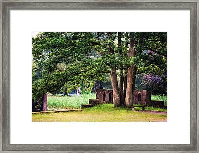 Quiet Park Corner. De Haar Castle Framed Print by Jenny Rainbow