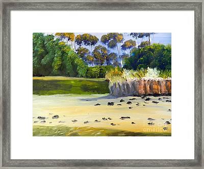 Quiet Sand By The Creek Framed Print