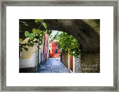 Quiet Street In Monterosso Framed Print by George Oze