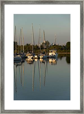 Quiet Summer Afternoon - Sailboats And Downtown Skyline Framed Print by Georgia Mizuleva