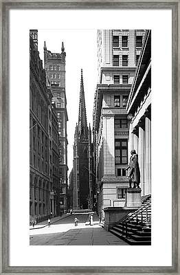 Quiet Sunday On Wall Street Framed Print by Underwood Archives