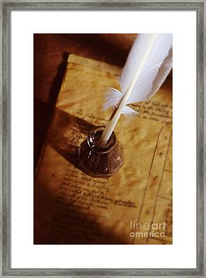 Quill In Ink Pot On Parchment Framed Print