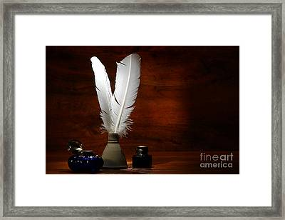 Quills And Inkwells Framed Print by Olivier Le Queinec