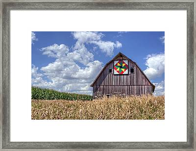 Quilt Barn - Double Windmill Framed Print