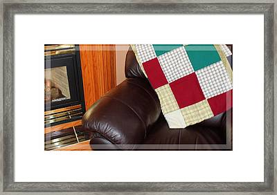 Quilt Beside A Fireplace Framed Print by Barbara Griffin